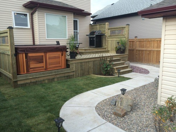 Deck and Concrete walkway